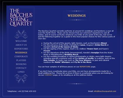 Website for The Bacchus String Quartet