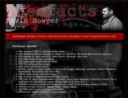Website for concert organist, Kevin Bowyer