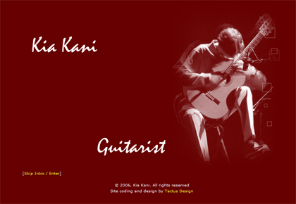 Website for virtuoso guitarist Kia Kani
