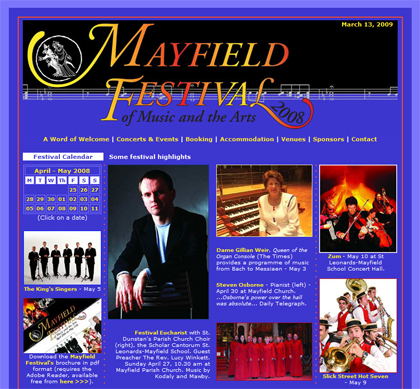 The Mayfield Festival website. No longer active, since the festival is biennial, we have parked it in our portfolio of favourite designs.