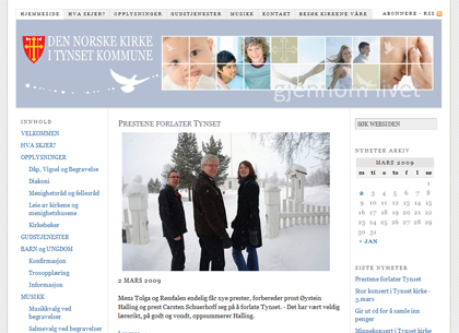 Website for Tynset Church, Norway