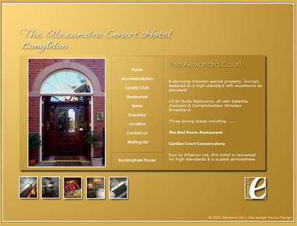 A design for The Alexandra Court Hotel and Restaurant - no longer active, we decided to keep this in our portfolio.