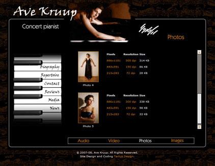Website of Estonian pianist, Ave Kruup