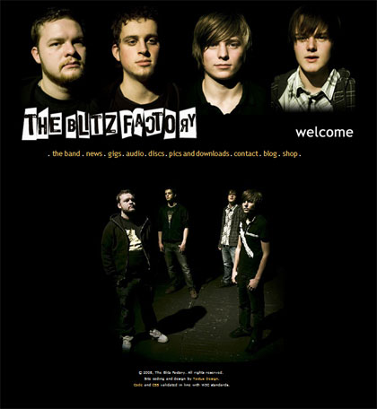 Norwegian boy-band, The Blitz Factory. Site includes webshop