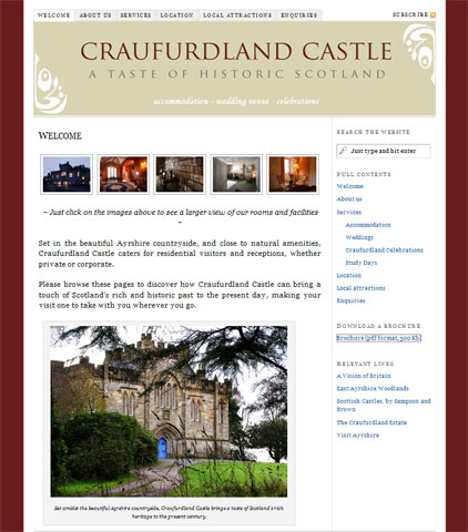 A site for Craufurdland Castle, Bed and Breakfast and Events Venue in East Ayrshire, Scotland