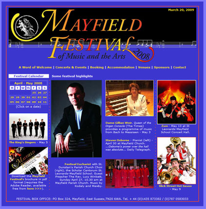 Our second site for The Mayfield Festival. No longer active, since the festival is biennial, we have kept this design in our portfolio because we liked it so much!