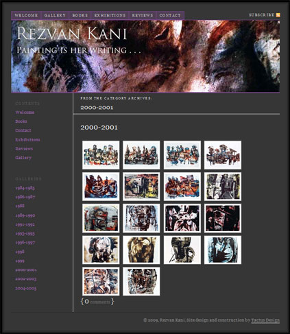 A gallery website for Andorran artist Rezvan Kani