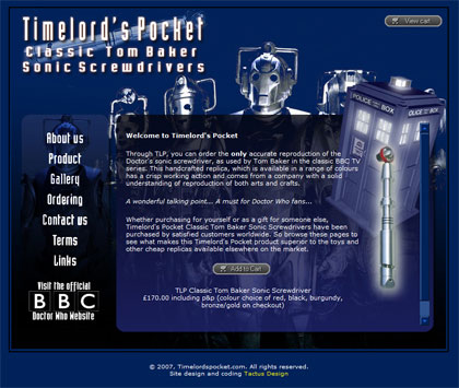 Commercial website for Doctor Who replica sonic screwdrivers