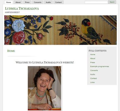 Website for Belgian harpsichordist, Ludmila Tschakalova
