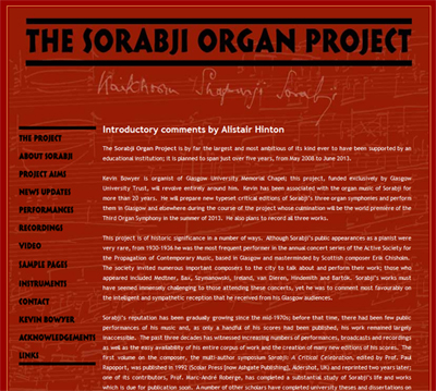 The Sorabji Organ Project website