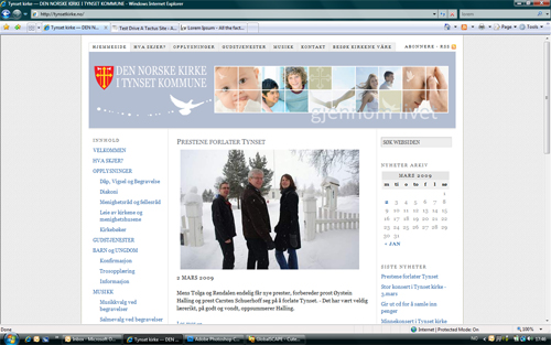 Our largest and most complex project, the website for the church at Tynset in Norway includes virtual tours, information pages in different languages, film clips and photo albums and mp3s.